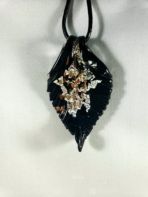 Lampworked Glass Leaf Pendant Necklace