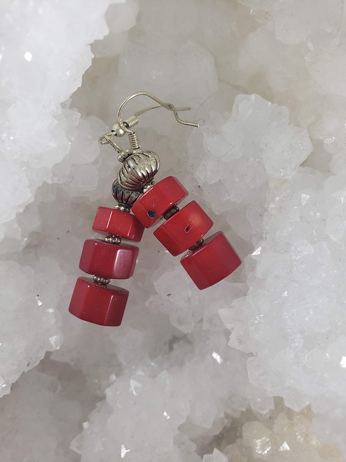Red Coral and Sterling Silver Earrings