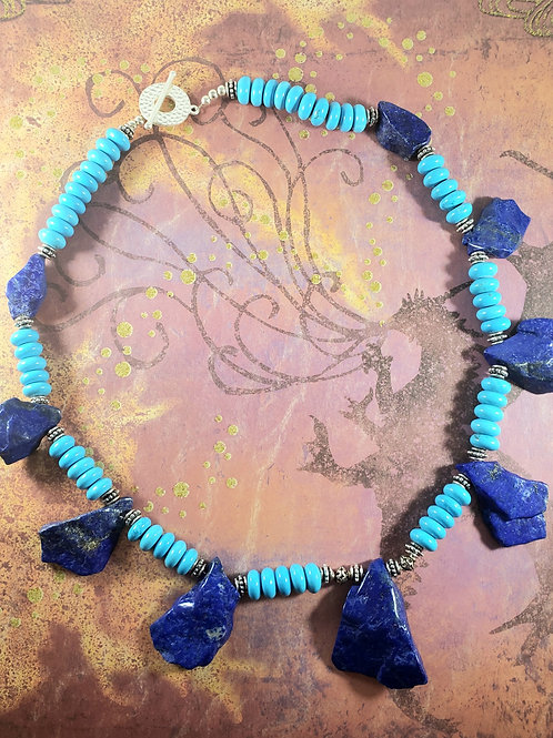 Rare Lapis with Pyrite Chunks and Turquoise Necklace