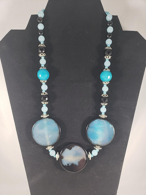 Blue Agate semi-precious gemstone Necklace