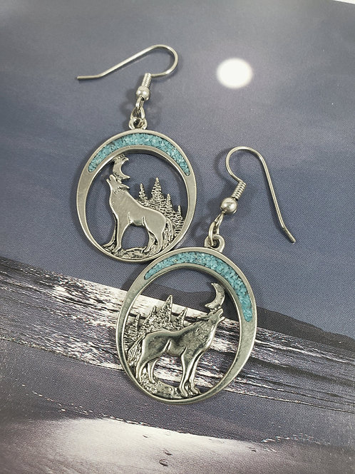 Turquoise chip Howling Wolf Earrings