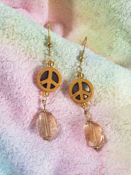Citrine Peace symbol Earrings