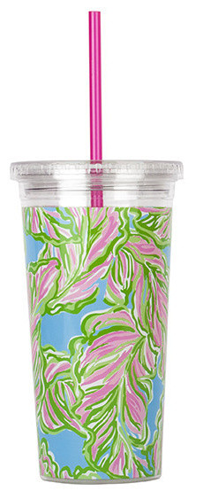 """Lilly Pulitzer """"In the Bungalow""""  tumbler with straw, $16,  Pink Boutique"""