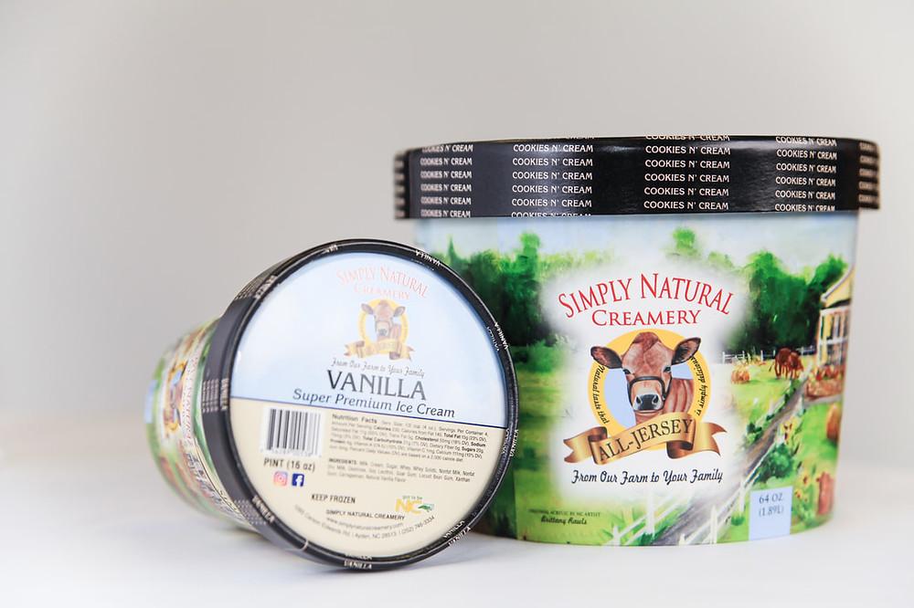 Simply Natural Ice Cream cartons