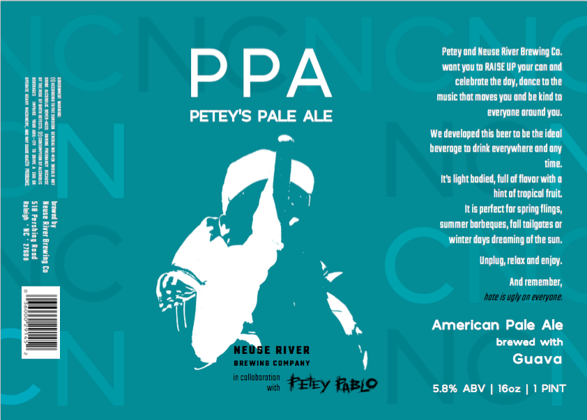 The graphics on the can of Petey's Pale Ale (Image from Neuse River Brewing Company)