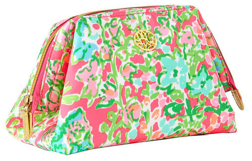 Lilly Pulitzer Waterside Cosmetic Case in Flamingo Pink Southern Charm, $48, Pink Boutique