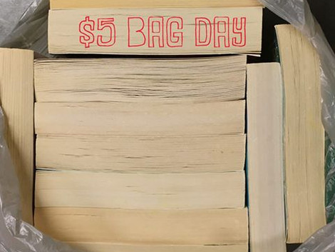 Library used book sale set