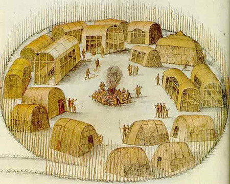 John White drawing of Pomeiooc village, from 1585 (Web photo)