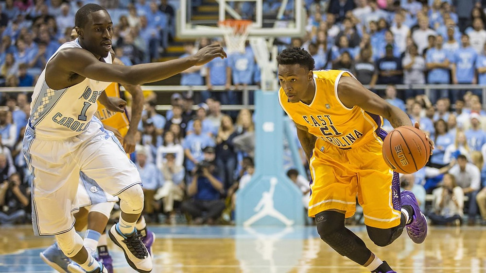 ECU plays basketball against UNC in the Dean E. Smith Center in Chapel Hill in this file photo from ECU Athletics.