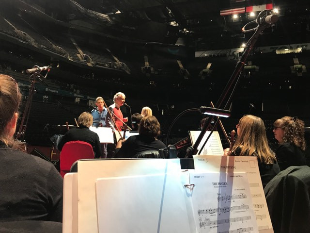 Bocelli, Chenoweth and the conductor rehearse with Opera Carolina orchestra in this photo taken by Pamela Kelly.