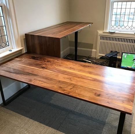 We delivered two black walnut desks toda