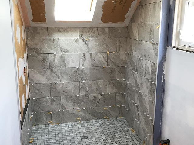 Tile is being set at our master ensuite