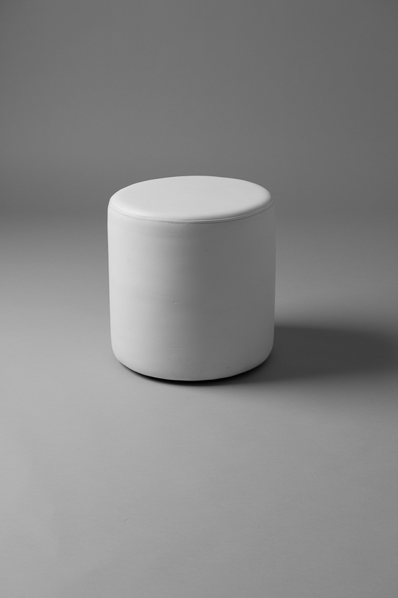 SMALL ROUND POUF WHITE