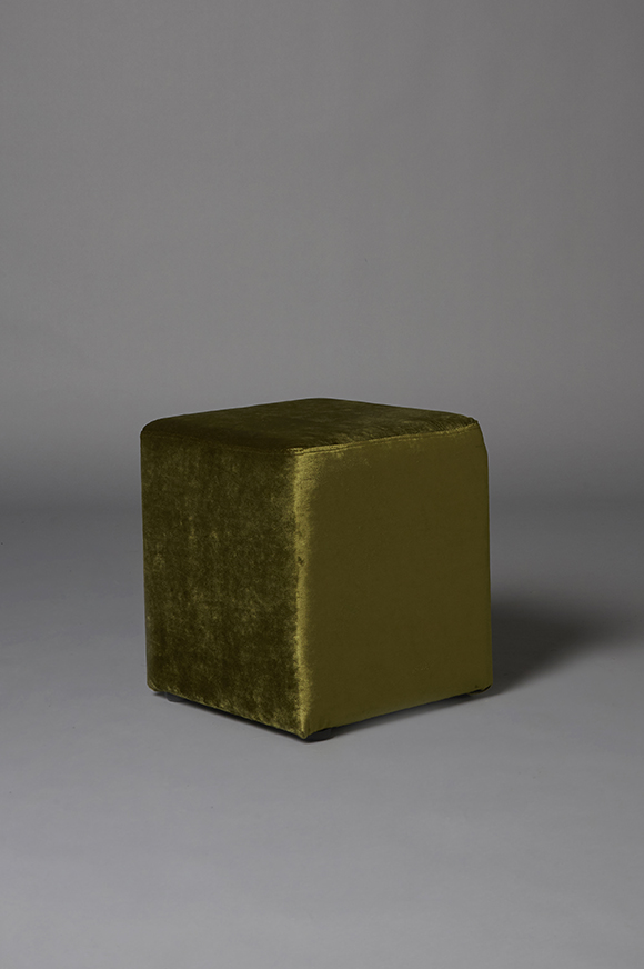 Small square green pouf