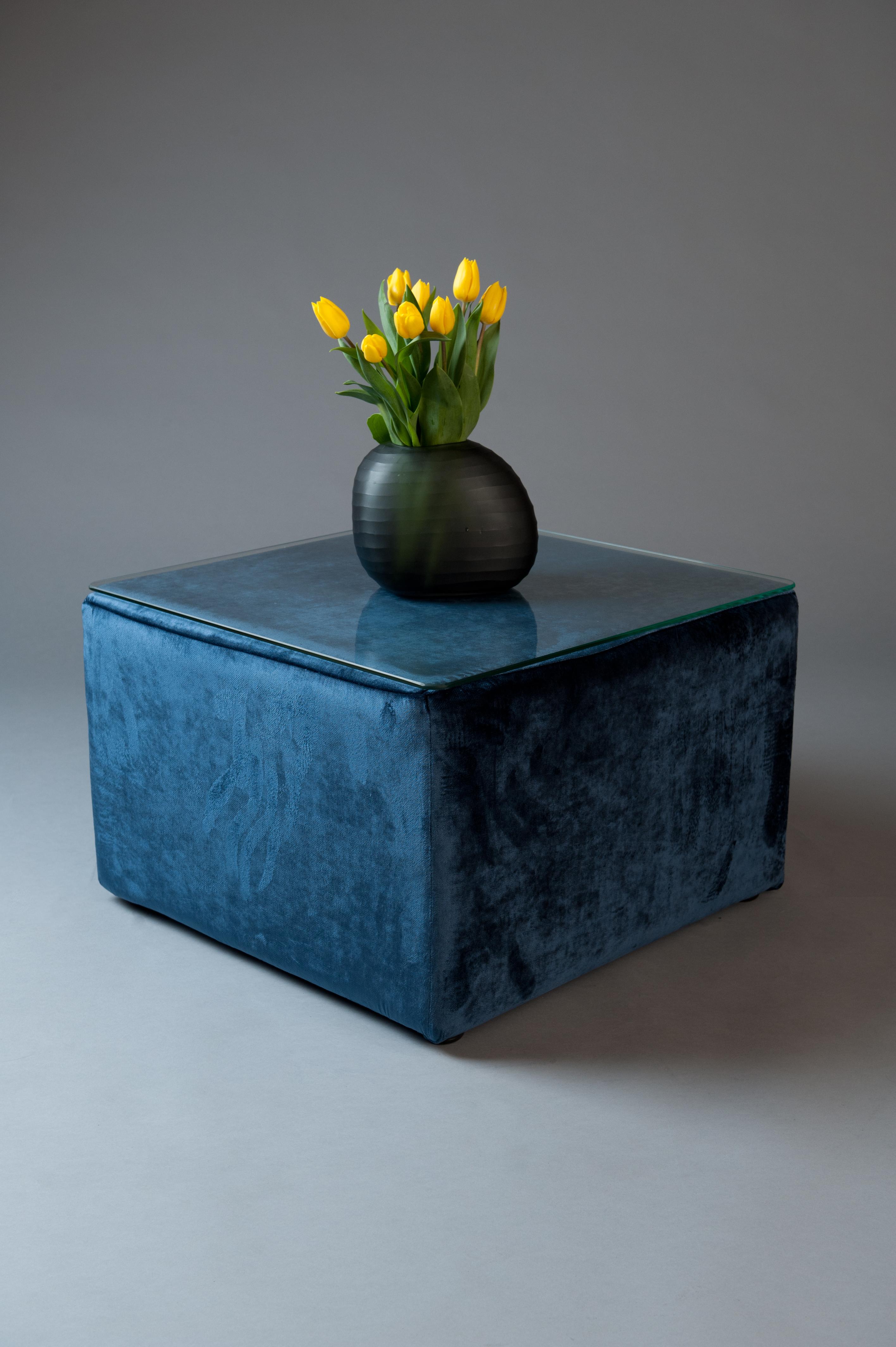 velvet living blue mesa pouf