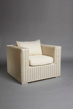 WHITE BASE RATTAN ARMCHAIR