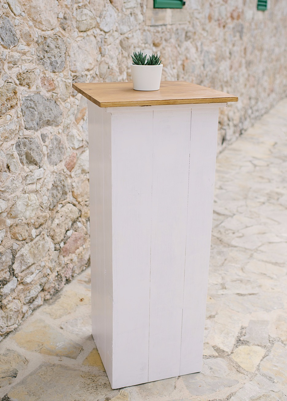 WHITE WOODEN POSEUR TABLE
