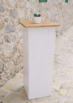 WHITE WOODEN POSEUR TABLE