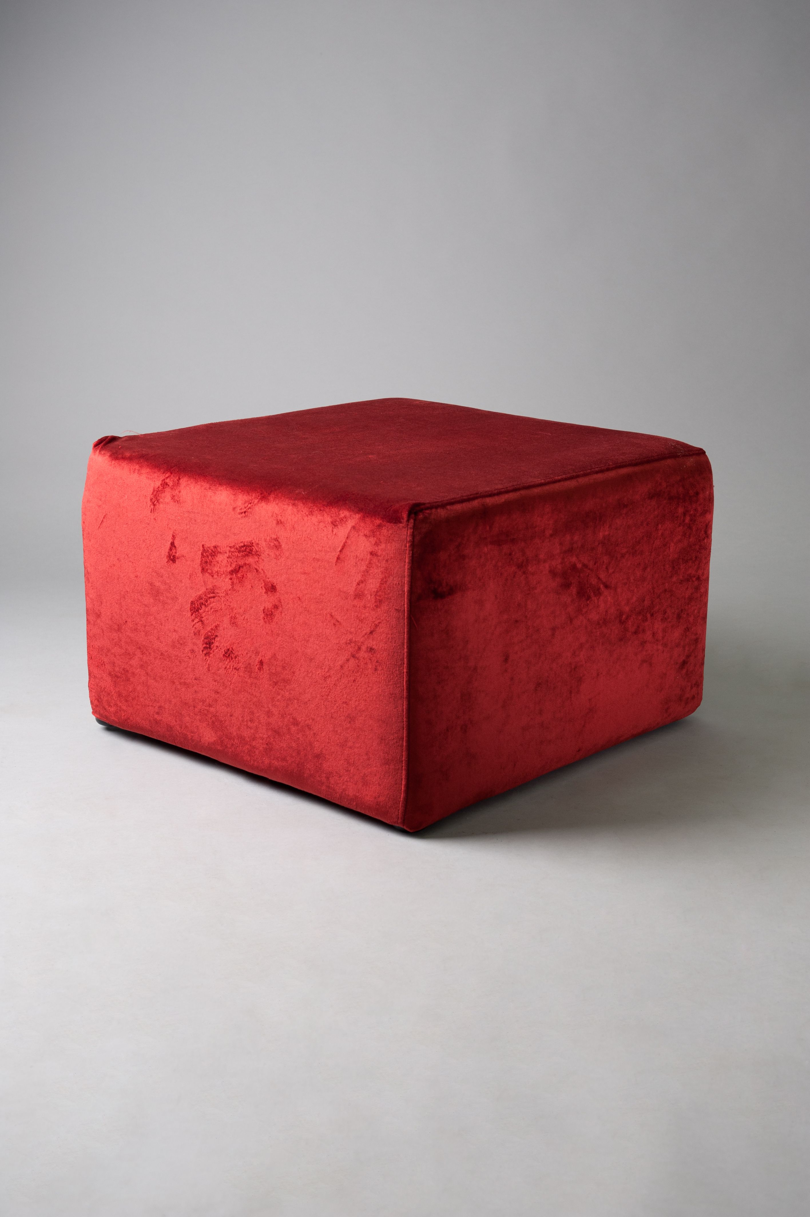 Red large square pouf VL