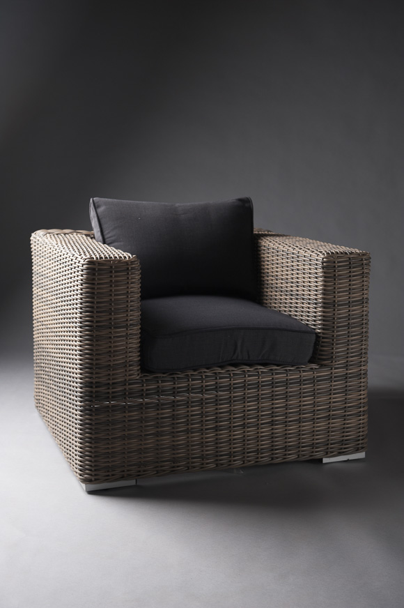 DARK BASE RATTAN ARMCHAIR