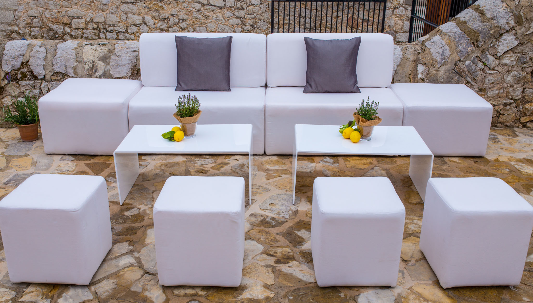 WHITE  TABLES & POUFS