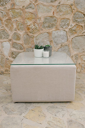 WHITE POUF TABLE
