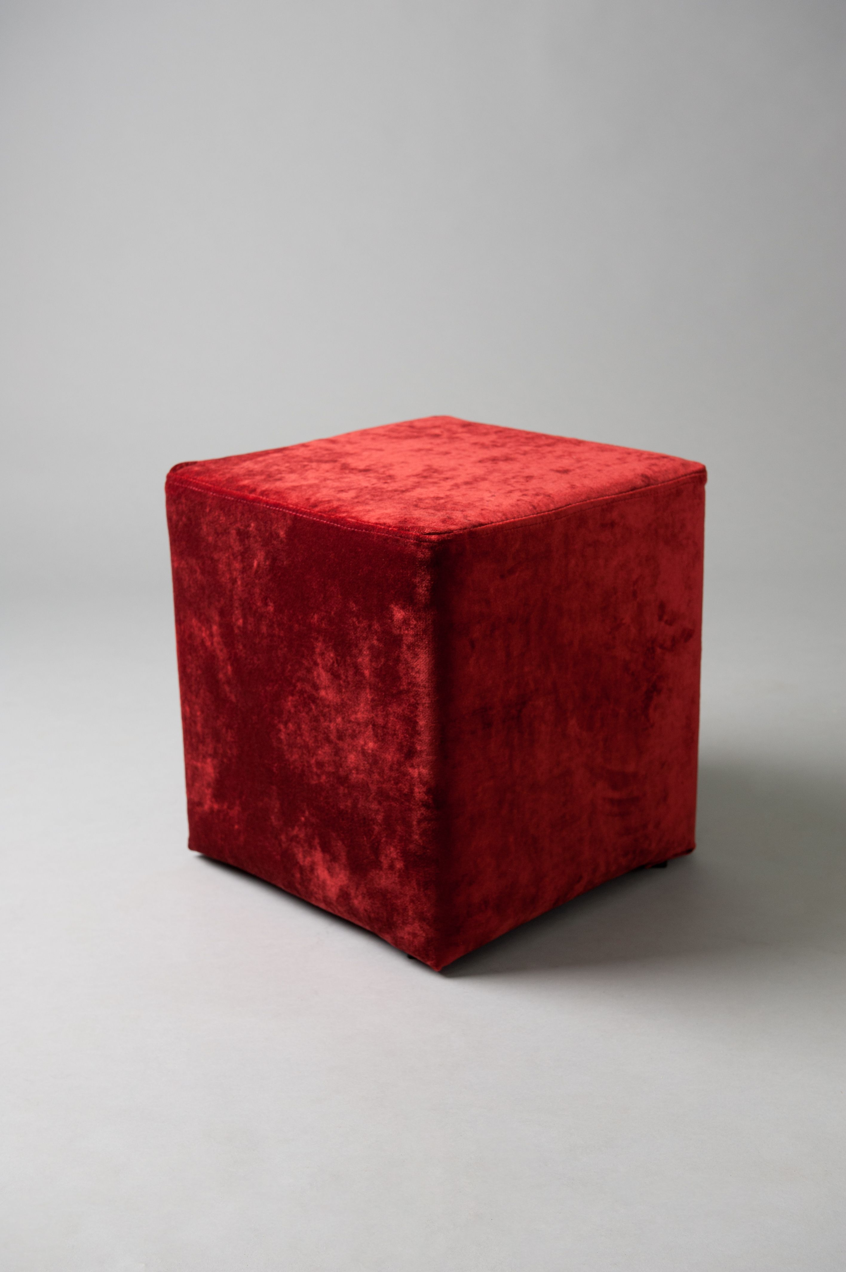 Red square pouf