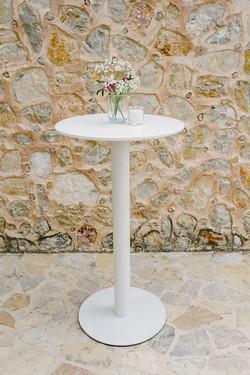 WHITE ROUND POSEUR TABLE