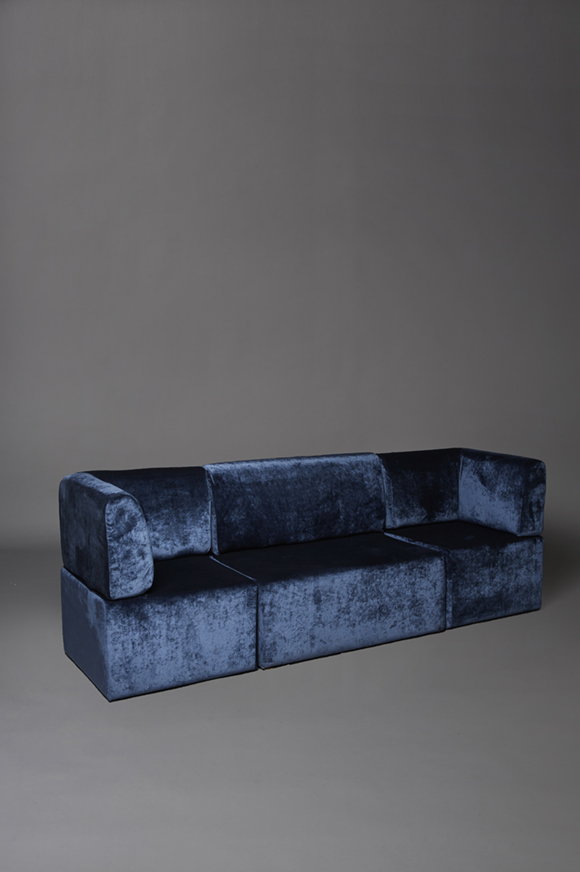 Blue velvet straight back sofa