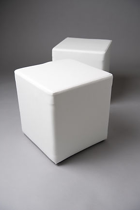 WHITE SQUARE POUF SMALL