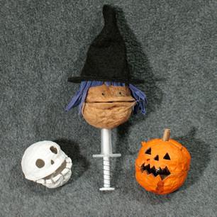 Light-up Walnut Skull, Witch and Pumpkin