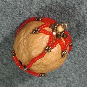 Beaded Walnut Ornament