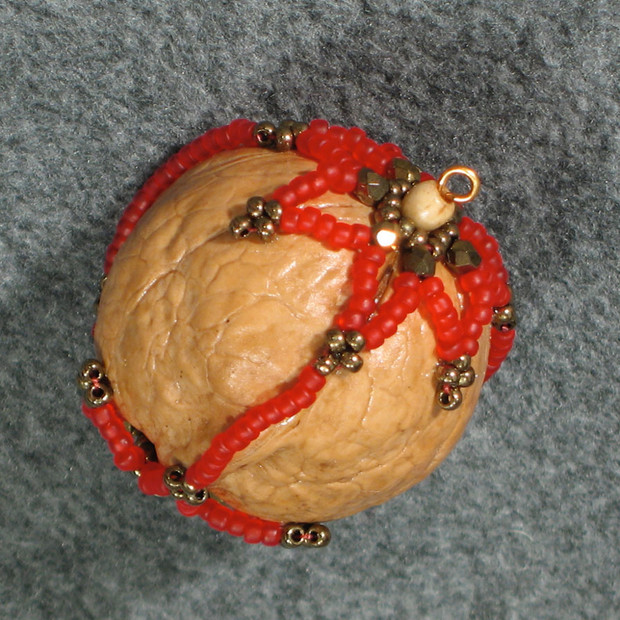 Beaded Walnut Ornament