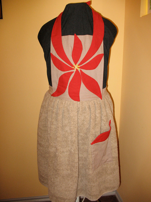 Poinsettia Christmas Apron