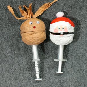 Walnut Rudolf and Santa