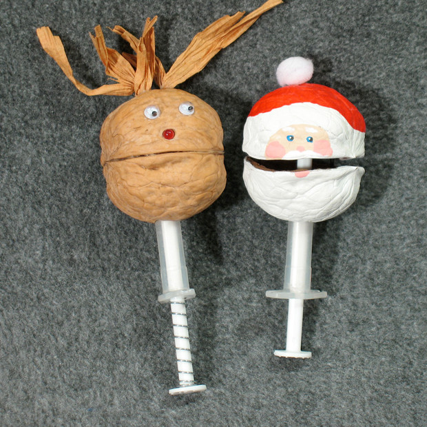 Walnut Rudolf and Santa