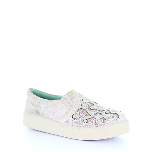 E1562 Corral White Embroidered Glitter Inlay Sneakers