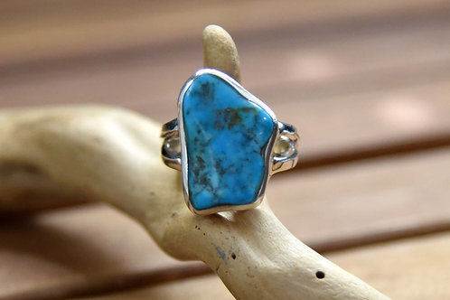Sleeping Beauty Turquoise Ring - Sterling Silver - Size: 9.5