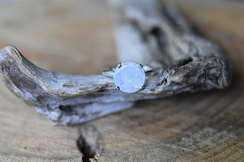 Faceted Moonstone Silver Ring - Size: 8 1/2