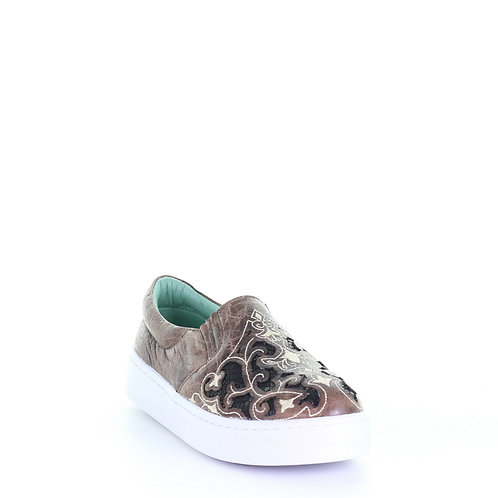 E1560 Corral Taupe Floral Embroidered Glitter Inlay Sneakers