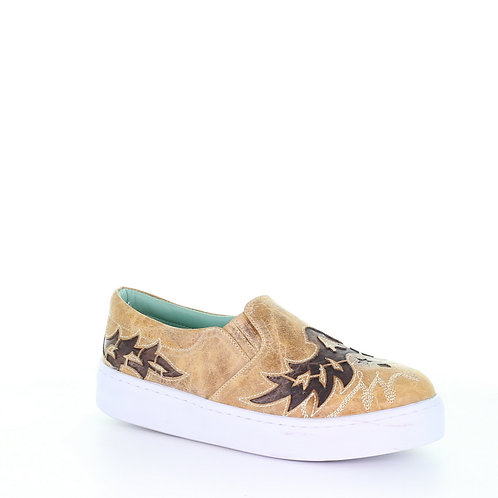 E1568 Corral Tan and Brown Inlay Embroidered Sneaker