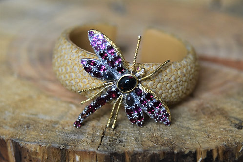 Rhodolite Garnet Dragonfly on Stingray Cuff
