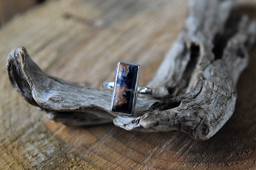 Sodalite Silver Ring - Size: 9