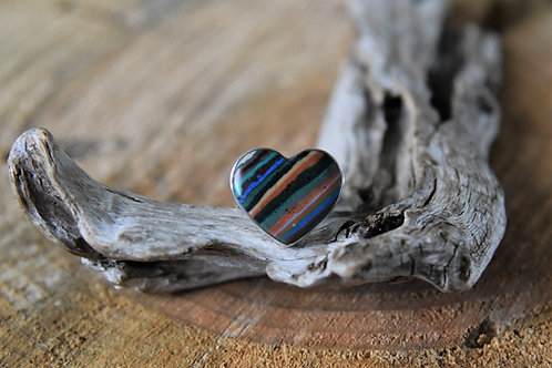 Rainbow Calsilica Silver Ring - Size: 9 1/2