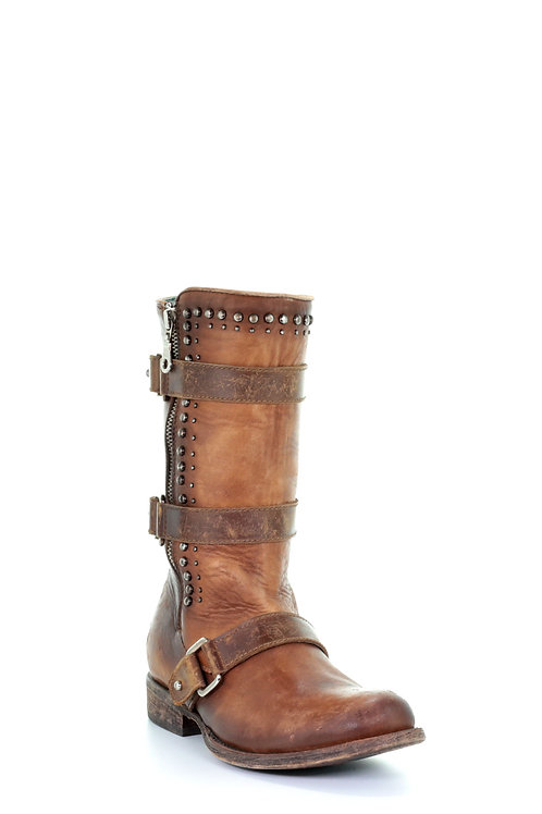 C2966 CORRAL WOMEN'S BROWN STUDDED HARNESS STRAP ZIPPER BOOTS