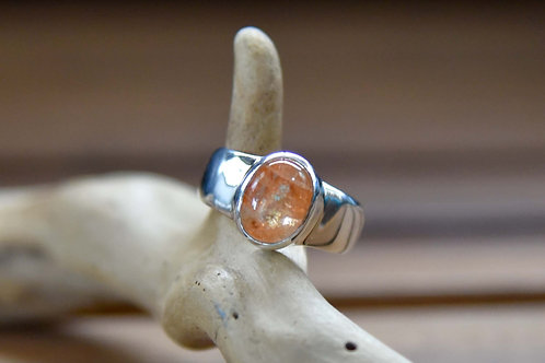 Sunstone Ring - Sterling Silver - Size: 7.5