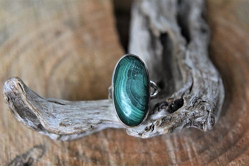 Malachite Silver Ring - Size: 8