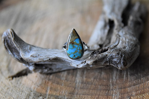 Blue Copper Turquoise Silver Ring - Size: 7