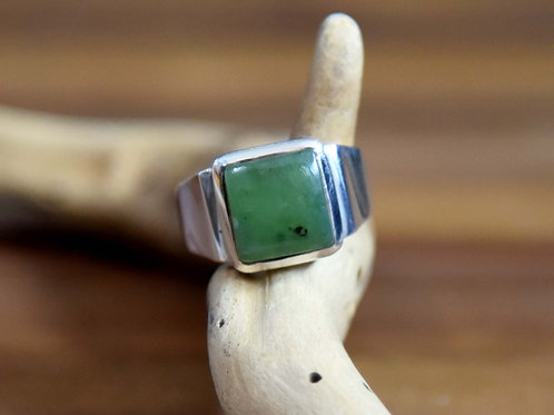 Jade Ring - Sterling Silver - Size: 9.5