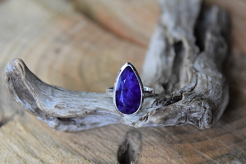 Sapphire Silver Ring - Size: 9